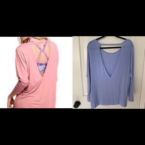 SUPER SOFT!! VS PINK periwinkle open back tee